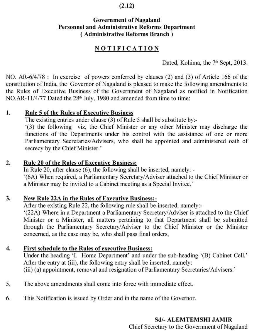 amendment of the nagaland rules of executive business  amendment of the nagaland rules of executive business 1980 incorporating parliamentary secretaries