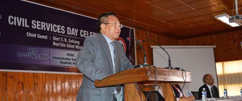 Shri.T. R. Zelieng speaking at the Civil Service Day celebration
